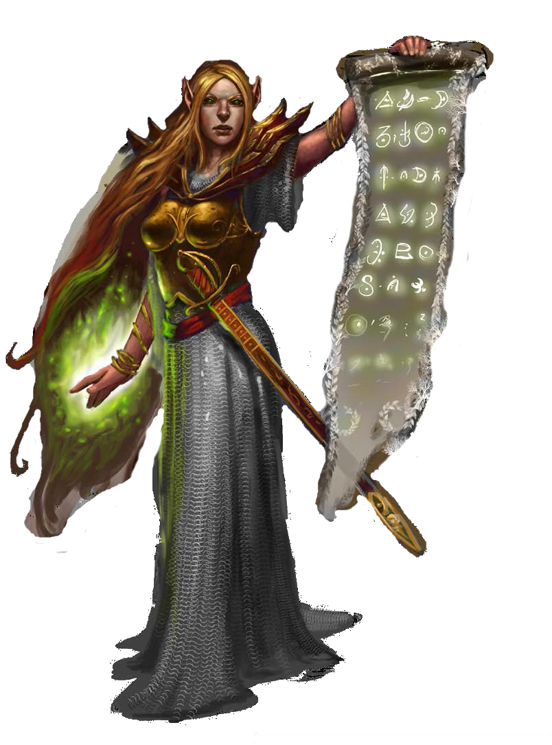 f Elf Cleric med armor scroll sword | paper mini | Fantasy ...