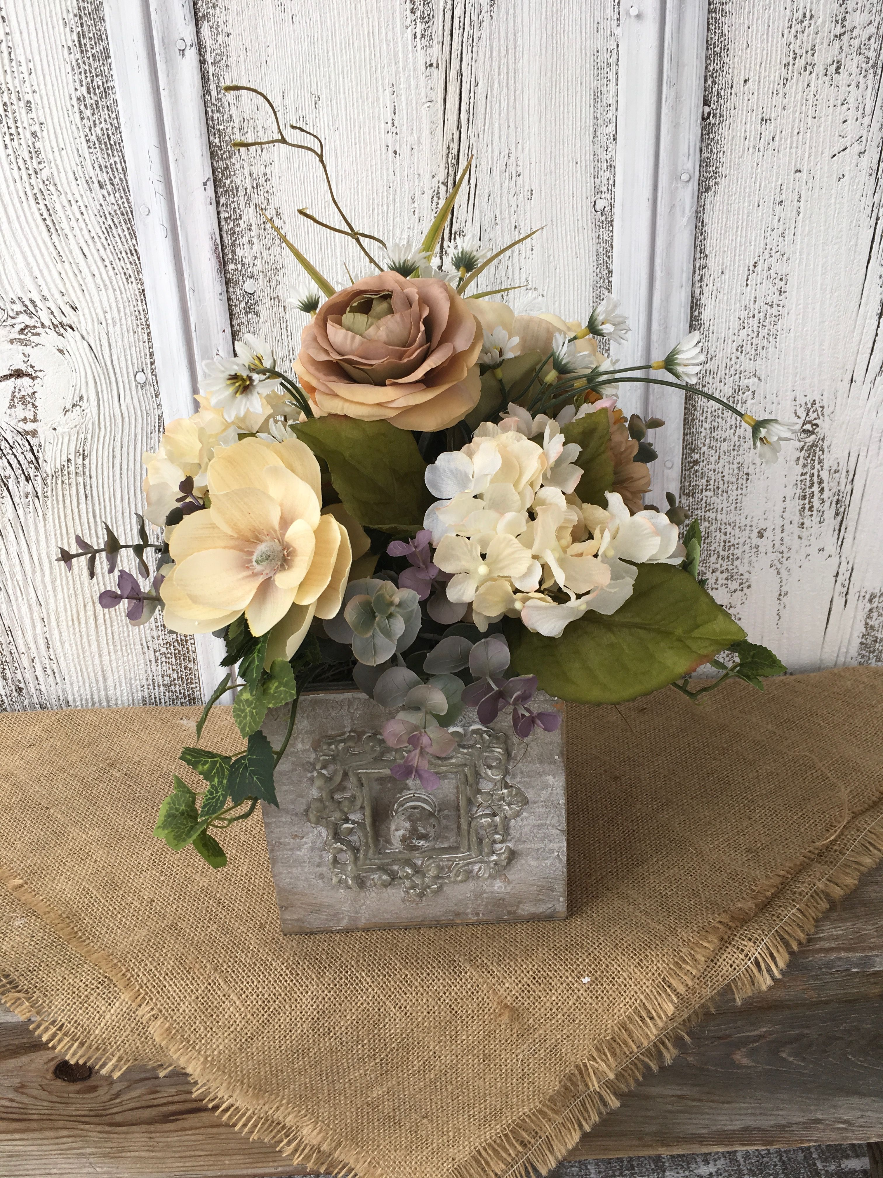 Pin By Glamorous Diva On Sheila S Floral And Primitive S On Etsy Rustic Flower Arrangements Floral Arrangements Diy Spring Floral Arrangements