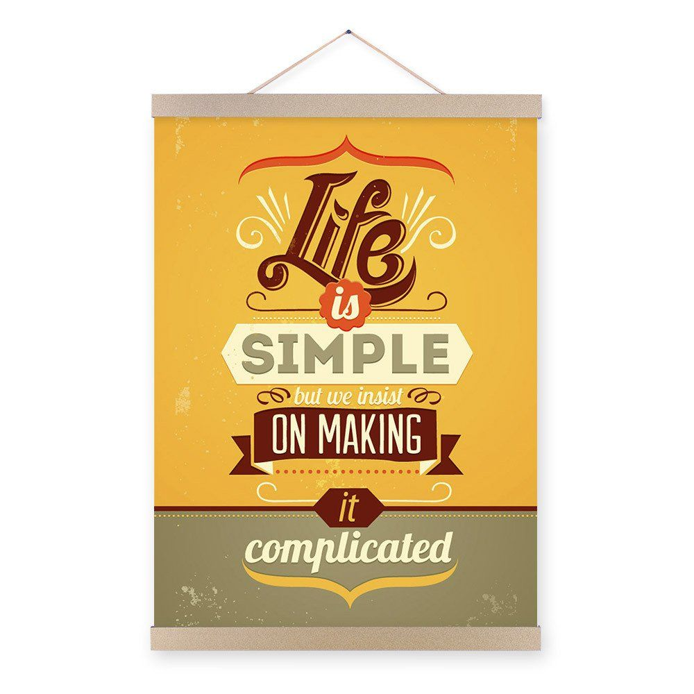 Vintage Retro Motivational Typography Simple Life Quotes A4 Big Art ...