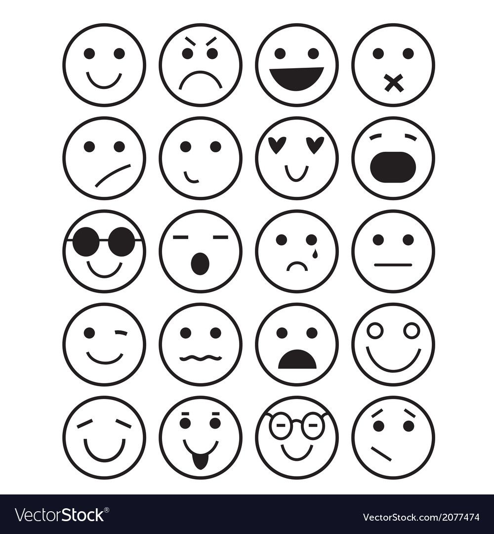 Smilies Icons Different Emotions Royalty Free Vector Image Affiliate Emotions Icons Smilies Royalty Ad In 2020 Doodle Icon Emoji Doodles