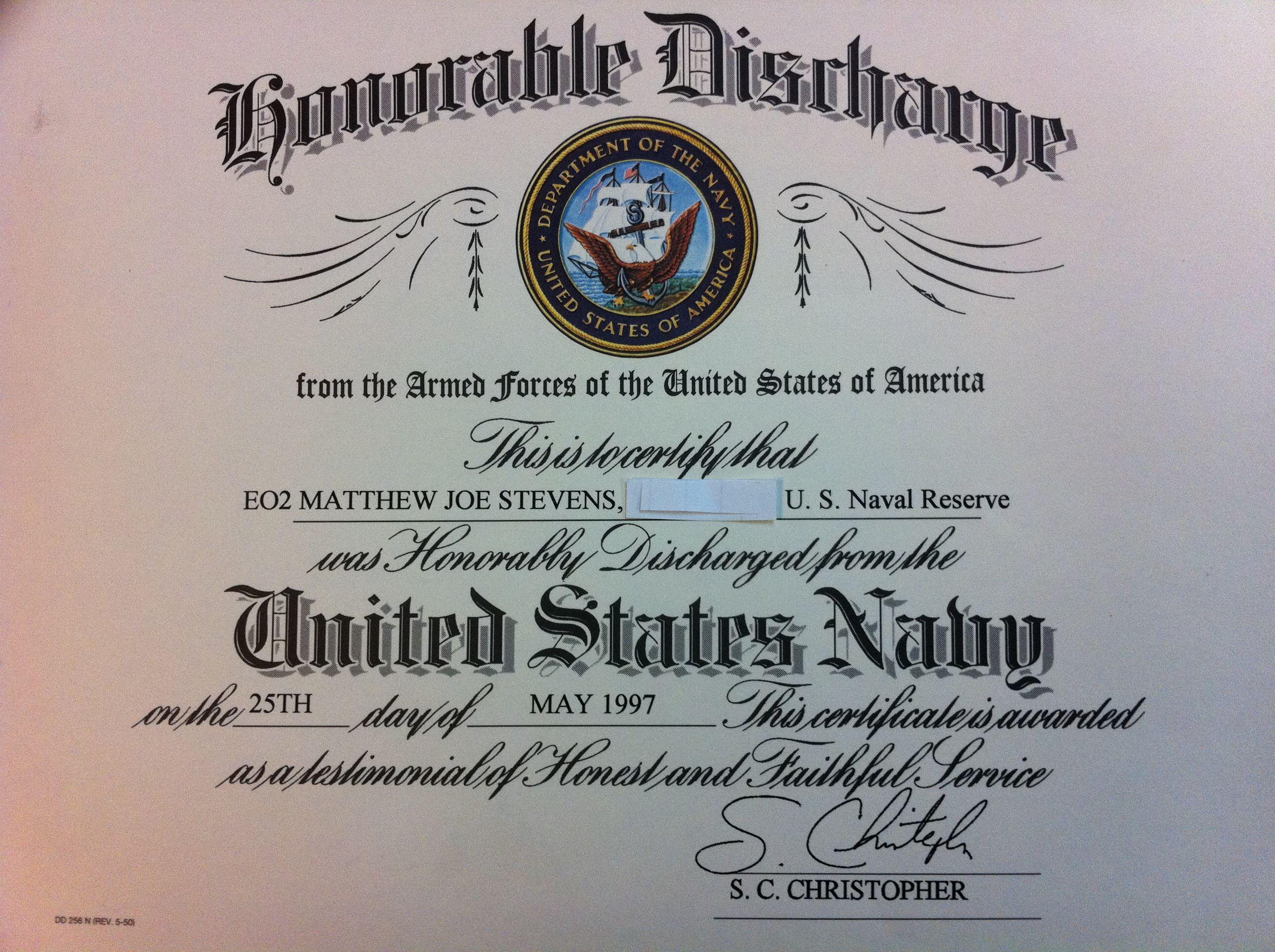 Matthew j stevens u s navy seabees honorable discharge