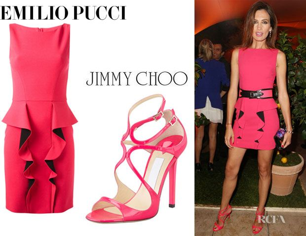 Nieves Alvarez' Emilio Pucci Frill Two-Tone Dress And Jimmy Choo 'Lance' Sandals.