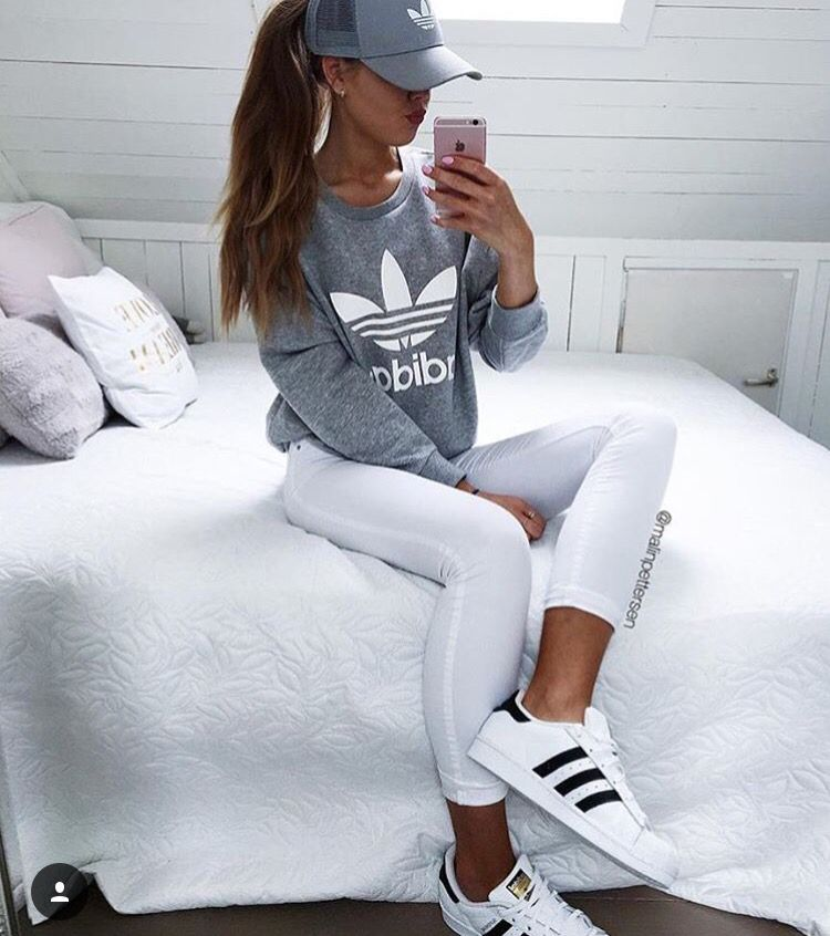 Fashion - White Knee-Ripped Denim Jeans, adidas Superstar Originals Shoes &  Baby Pink Knitted Jacket/Top | Pinterest | Superstar original, Ripped denim  ...