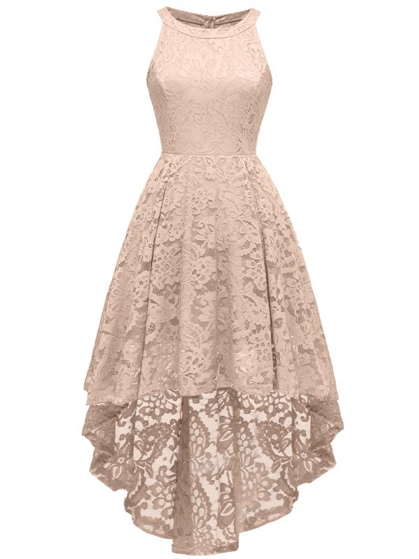 LaceShe Women's Halter Floral Hi-Lo Lace Dress