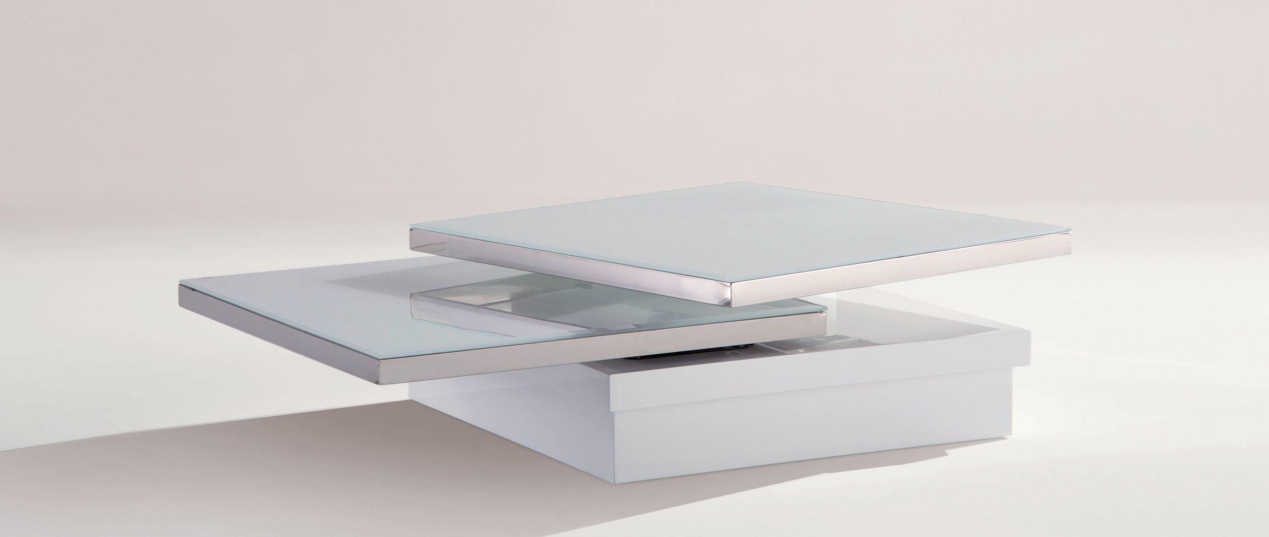 Table basse sigma plateaux pivotants en chrome et verre - Table basse cuir center ...