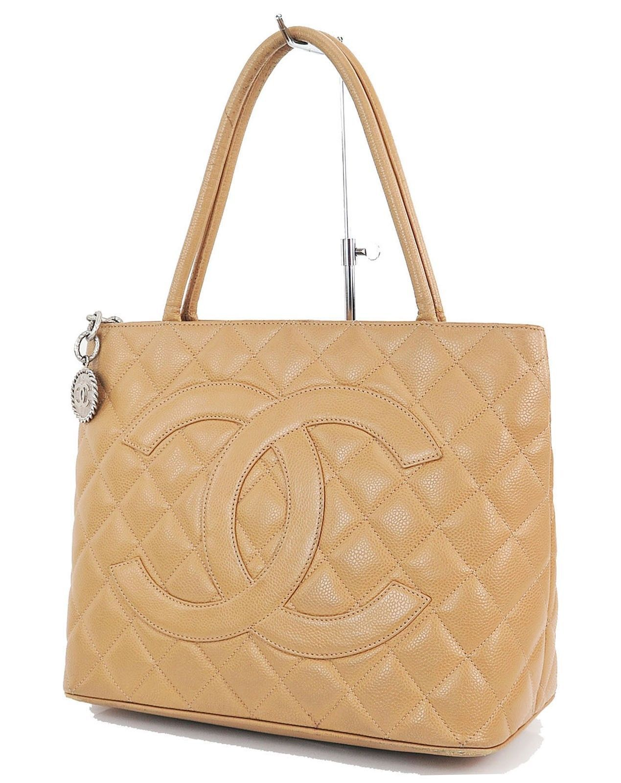 1c02f78c971ce1 Auth CHANEL Beige Quilted Caviar Leather CC Medallion Tote Bag Purse #28600