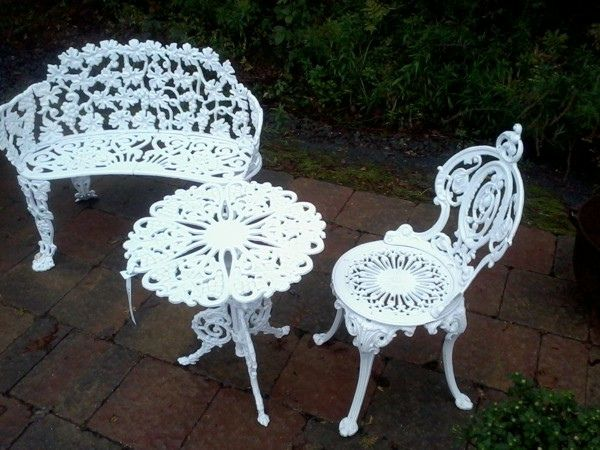 Sensational Antique Cast Iron Patio Garden Set Wrought Iron Garden Squirreltailoven Fun Painted Chair Ideas Images Squirreltailovenorg