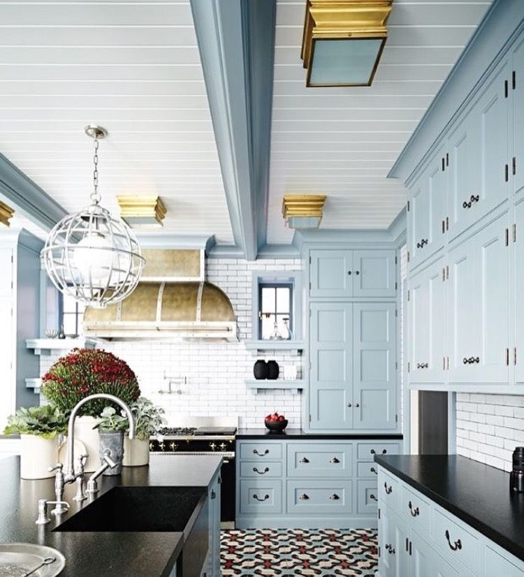 Dark And Light Kitchen Cabinets Together: Light Blue Cabinets With Black Counter