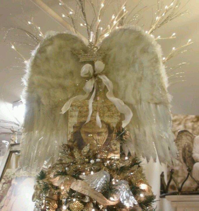 angel wings theme christmas tree angel wing tree topper christmas - Angel Christmas Tree