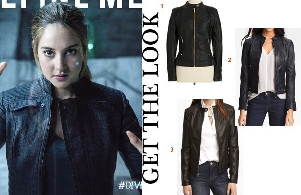 Divergent movie Dauntless clothes get the look: Tris' (Shailene Woodley)  black leather, zip-front jacket