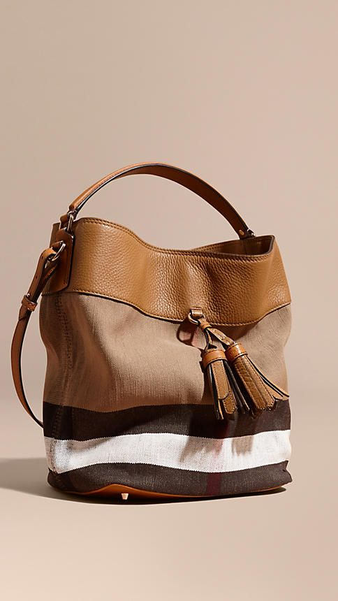 4daa21832501 Saddle brown The Medium Ashby in Canvas Check and Leather Saddle Brown -  Image 1