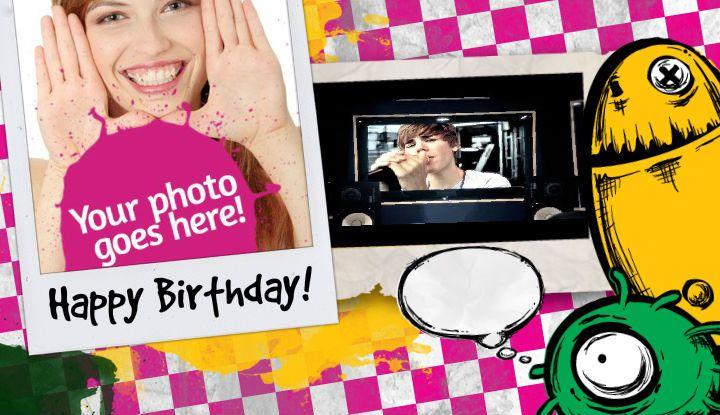 Happy Birthday Card With Justin Bieber Mix Happy Birthday Cards Happy Birthday Birthday Cards