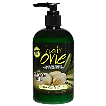 Hair One Argan Oil Hair Cleanser Conditioner For Curly Hair