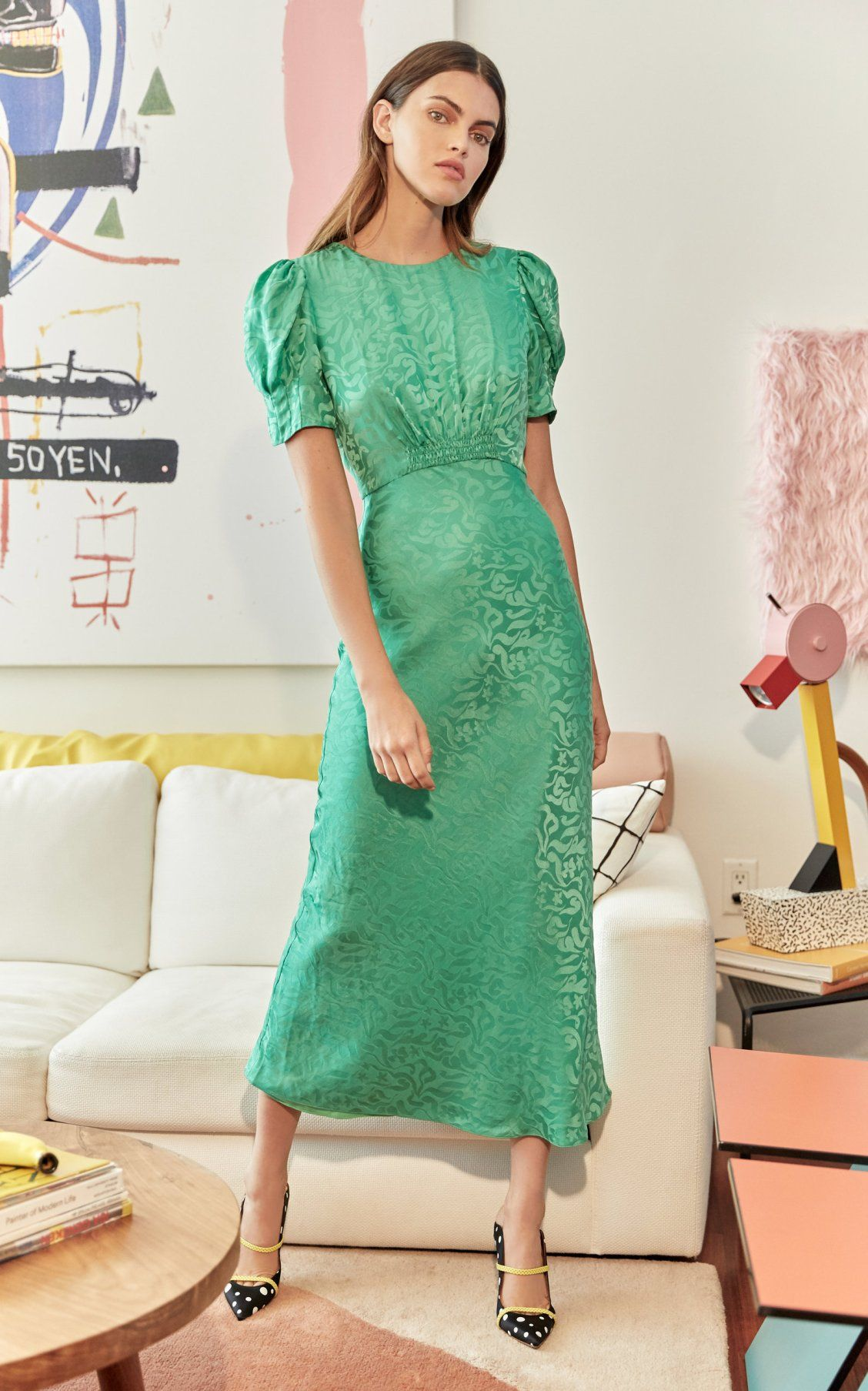 c028ba28f78cc Bianca Puff-Sleeve Silk Dress by Saloni SS19 | Spring/Summer Must ...