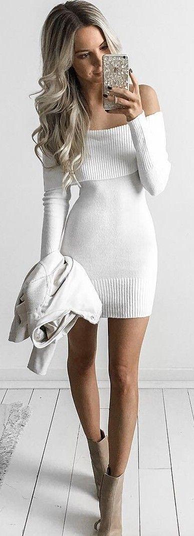 Beyaz Triko Elbise Modelleri Sik Ve Dikkat Cekici 2018 Kazak Elbiseler Elbiseler Moda Trendleri Kazak Elbise