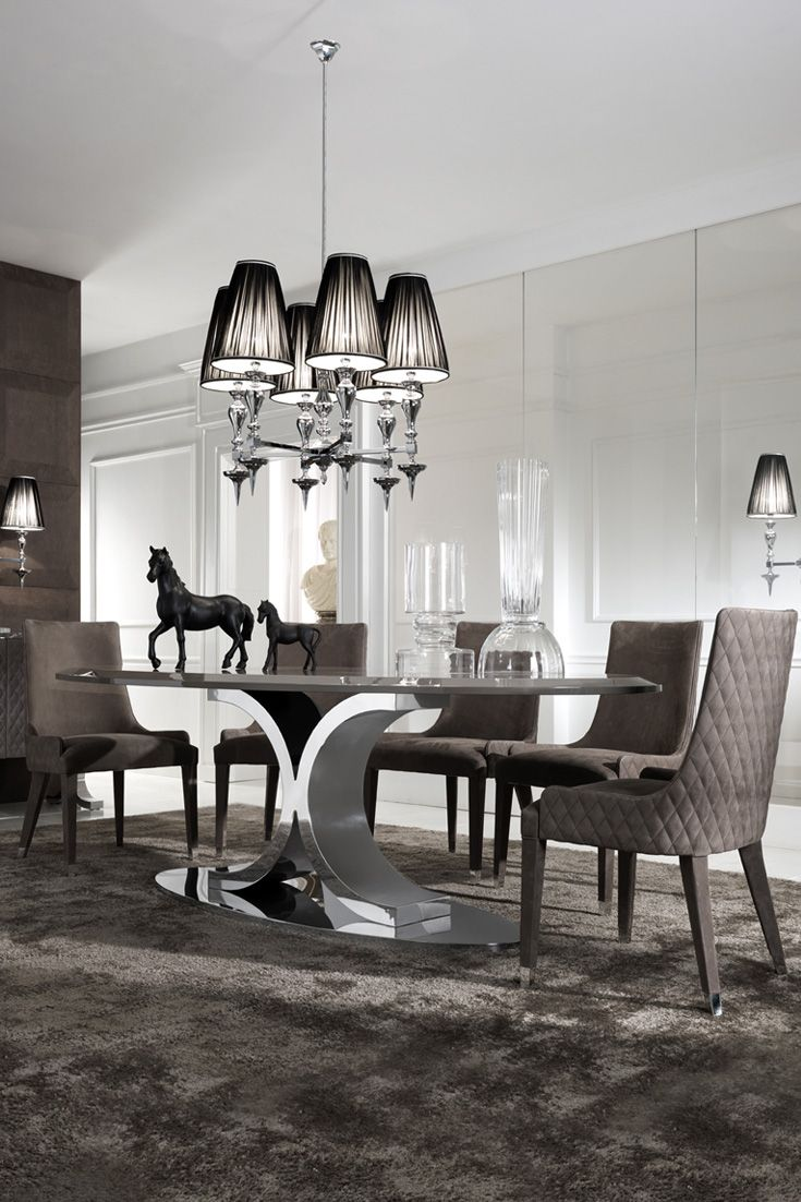 Contemporary Oval Dining Set Modern Dining Room Luxury Dining