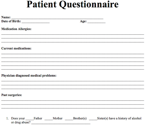 Patient Questionnaire  Free Counseling Note Templates