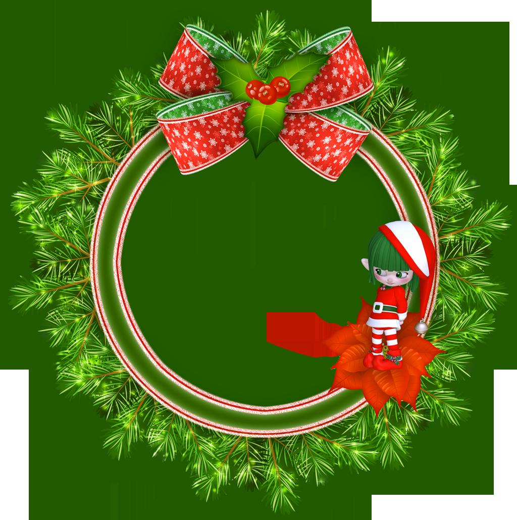 Round Transparent Christmas Photo Frame with Elf   Marcos ...