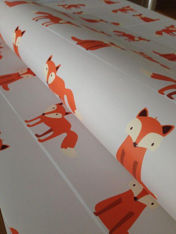 Removable Wallpaper, Fox wallpaper, Fox Print, Fox wall art, Woodland nursery, Nursery wallpaper, Kids wallpaper, Peel and stick wallpaper
