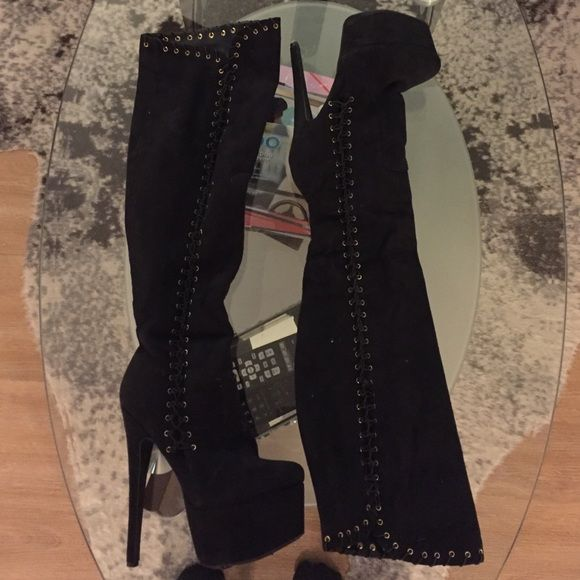 Bebe boots Large platform boots, great condition, suede jet black bebe Shoes Over the Knee Boots