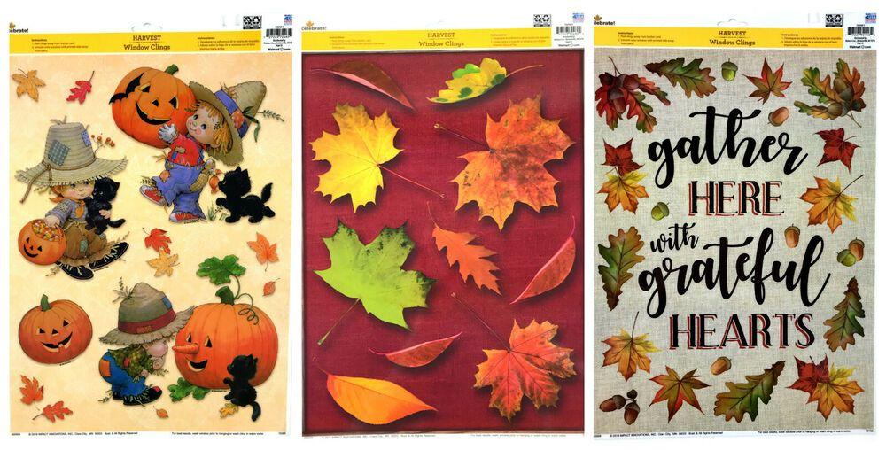 Lot of 3 Harvest Window Clings Fall Autumn Thanksgiving Scarerow Boys Pumpkins