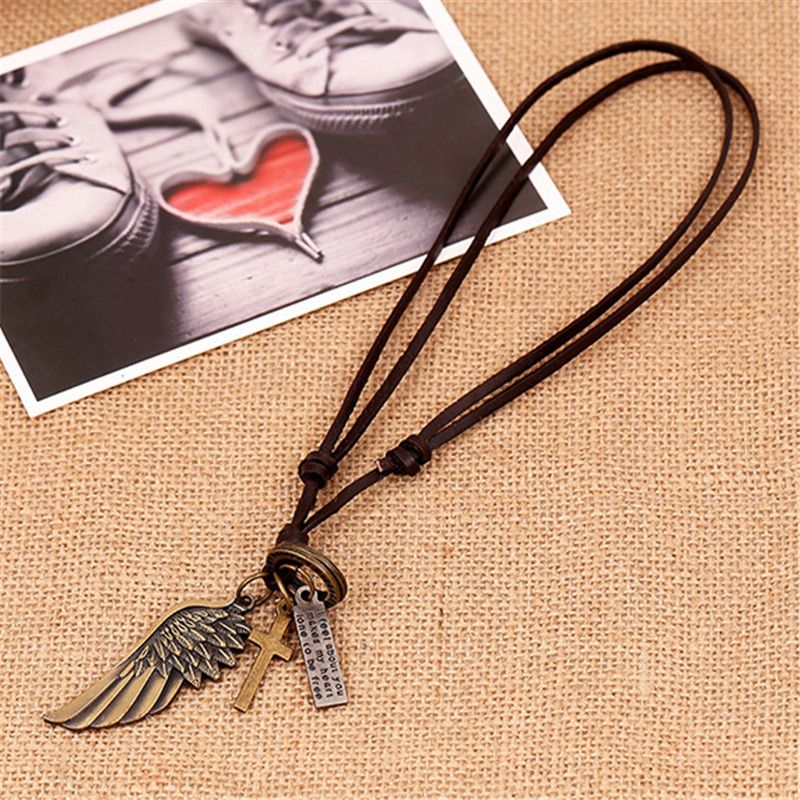 Creative Mens Womens Jewelry Angel Wing Leather Necklace Charms Pendant Vintage