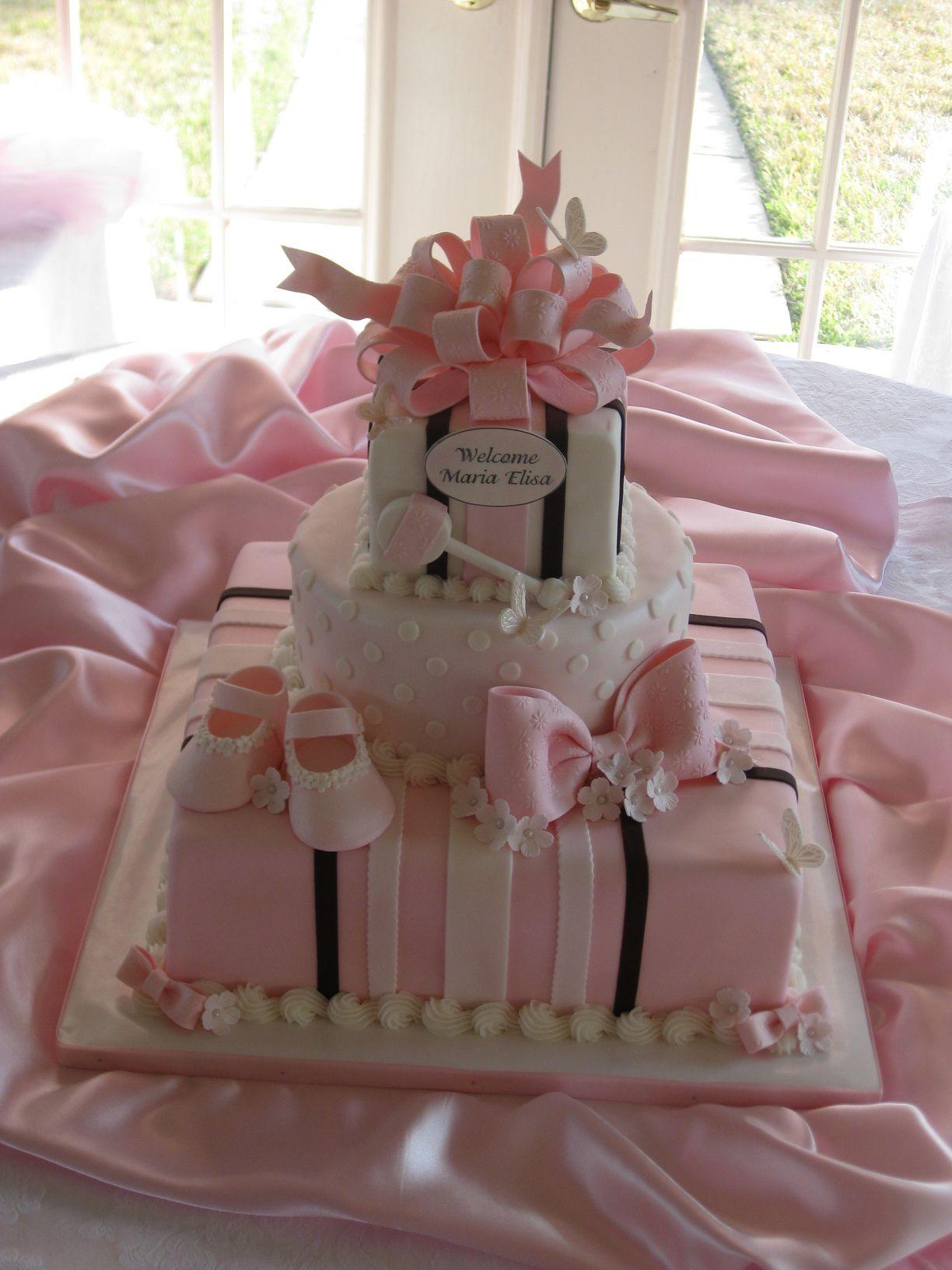 Sweet Baby Girl Girl shower cake, Baby shower cakes girl