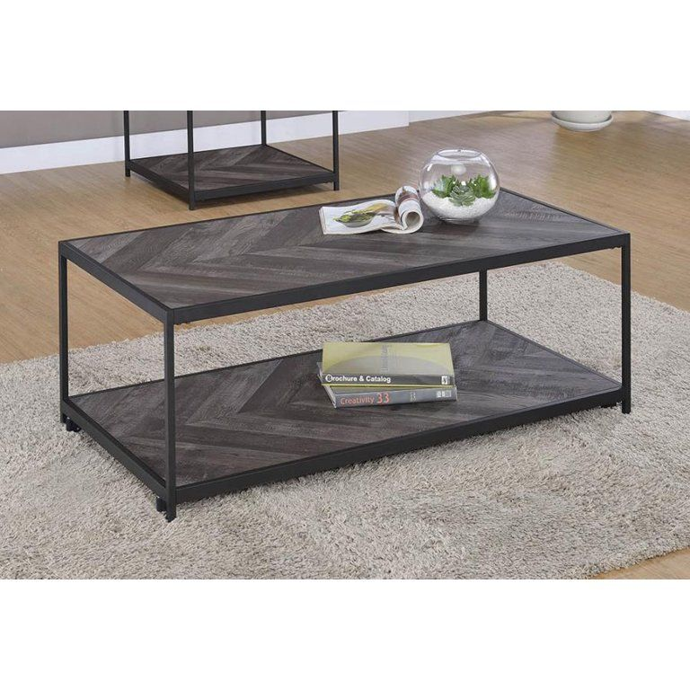 Victorville 1-Shelf Coffee Table With Casters Rustic Grey Herringbone - Walmart.com