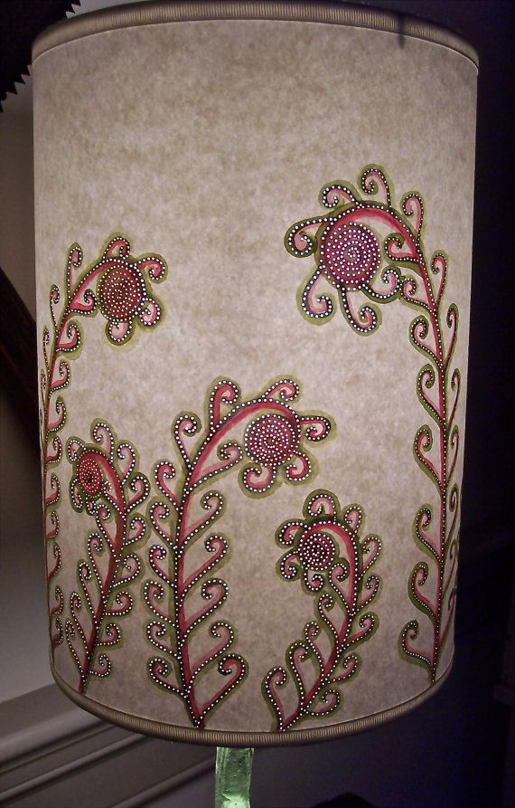 Crazy For Fiddlehead Ferns Tall Drum Lamp Shade By Jennybeeshades 148 00