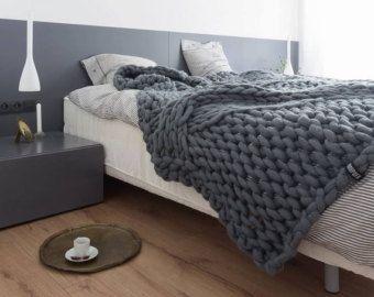Chunky gebreide gooien dikke wollen deken gigantische door PANAPUFA