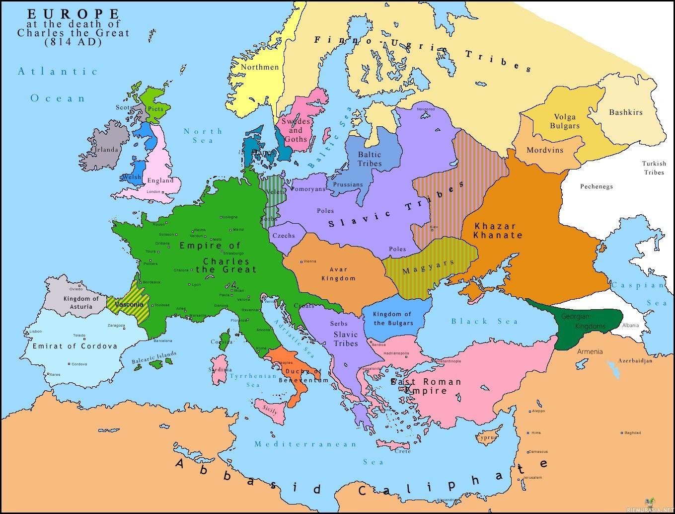 Euroopan Kartta Vuodelta 814 Asia Map Europe Map Map