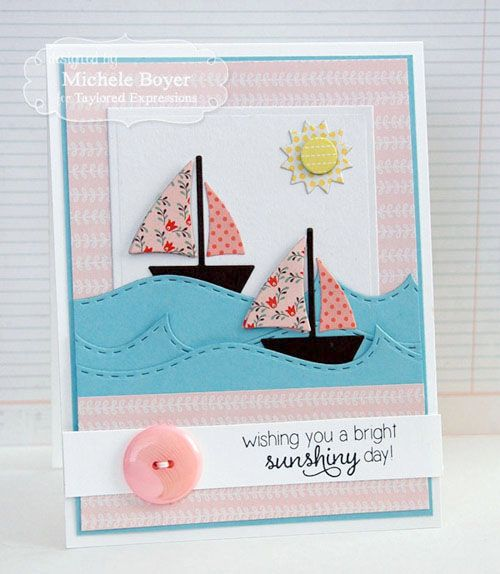 Love the pink sailboats from Taylored Expressions.  Paper is Echo Park Simple Life.