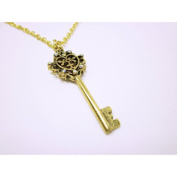 JEWELRY NECKLACE Gold Heart Key Necklace Heart Key Jewelry Key With... (31 CAD) via Polyvore featuring jewelry, necklaces, gold heart necklace, heart pendant necklace, gold chain necklace, pendant necklaces and gold circle necklace