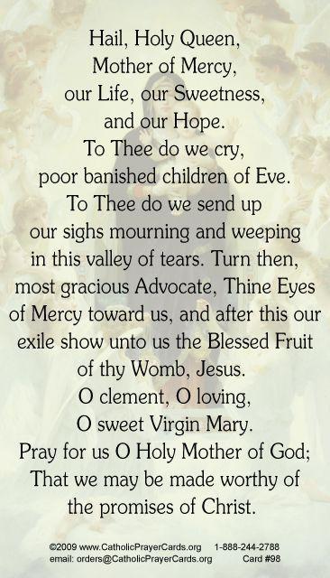 Hail Holy Queen Prayer Card