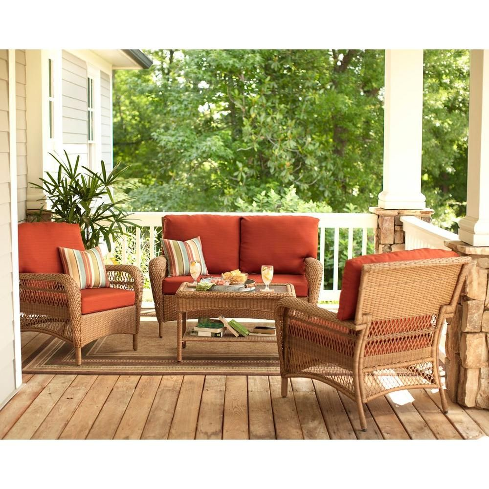 Martha Living Charlottetown Natural All Weather Wicker Patio Loveseat With Quarry Red Cushion