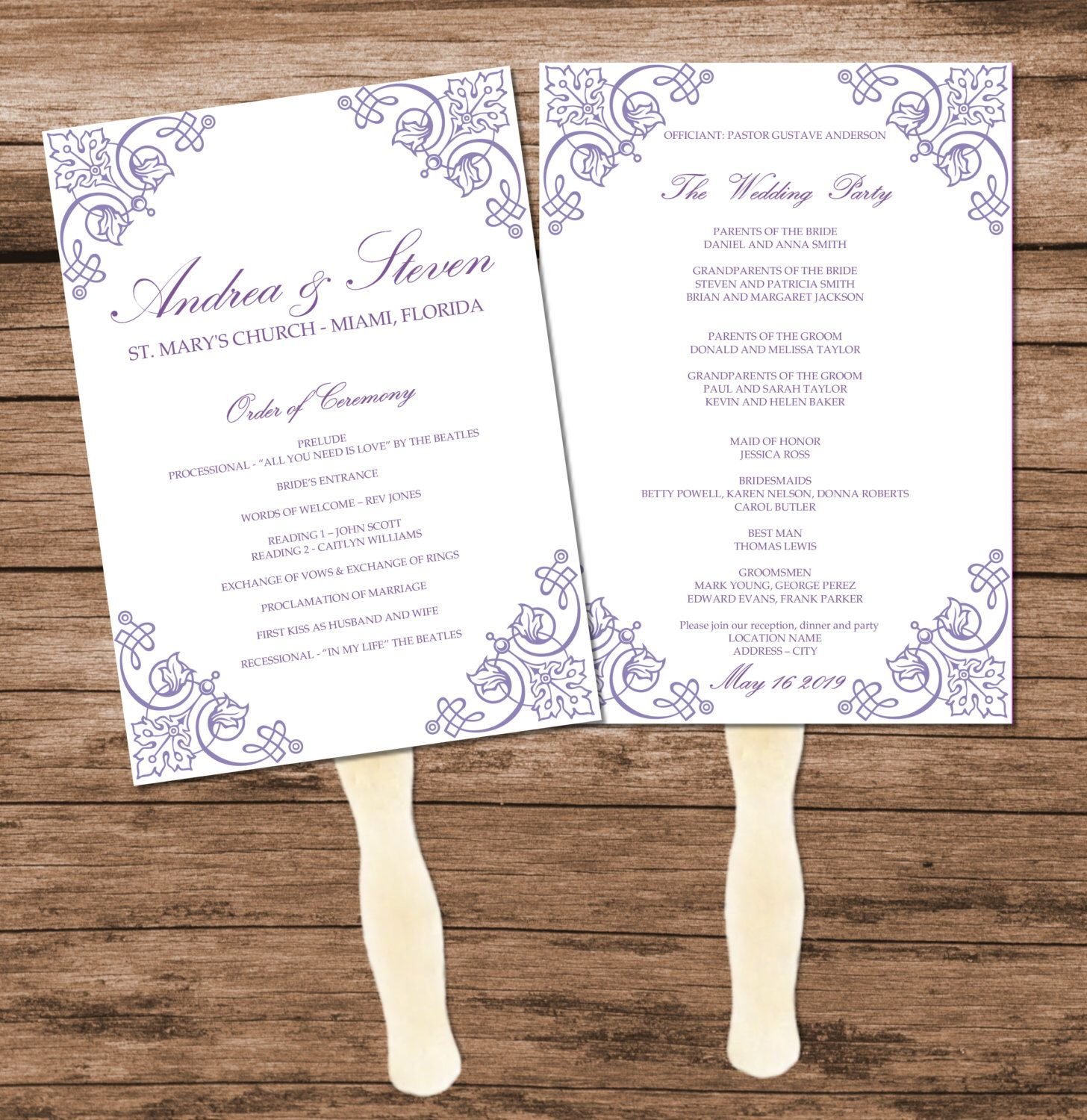 Lavender Vintage Wedding Program Fan Template Diy Reception Menu