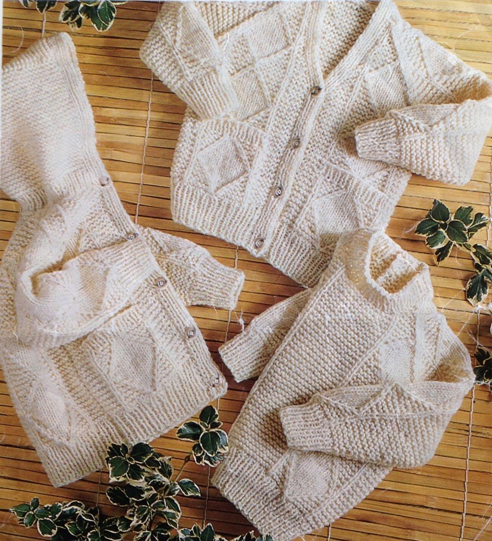 Knitting Pattern Baby/Girls/ Boys Aran/Fisherman Jumper/Sweater ...