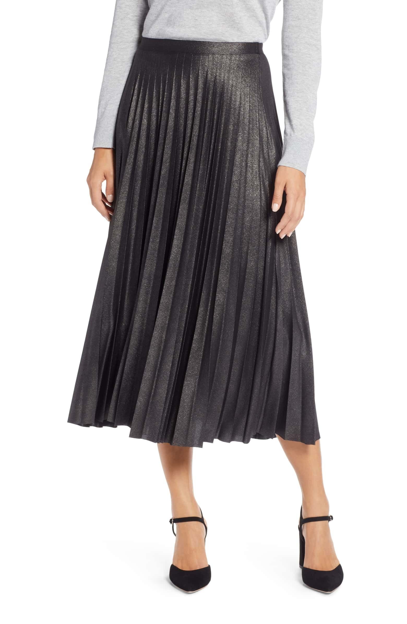 4fd785e31 Metallic Pleat Midi Skirt: Something effortlessly glam for your fall  lineup, a ladylike skirt is fashioned with rippling accordion pleats that  highlight the ...