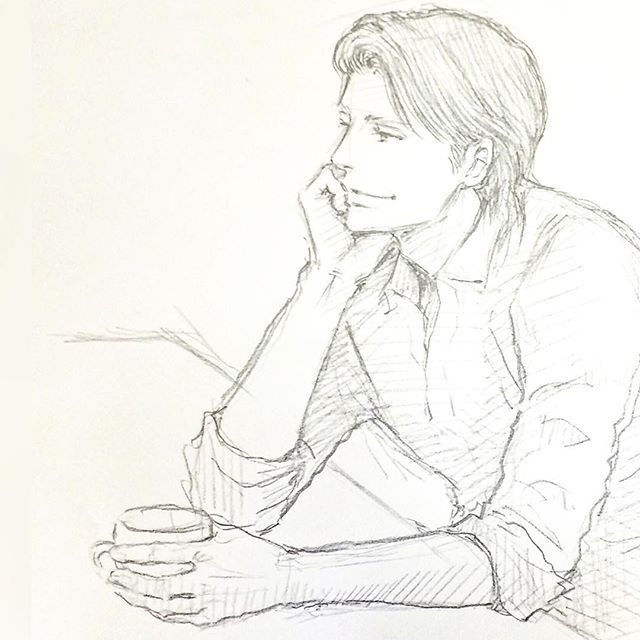 疲れたら一服しなさい はい 美中年 男性 イラスト Drawing