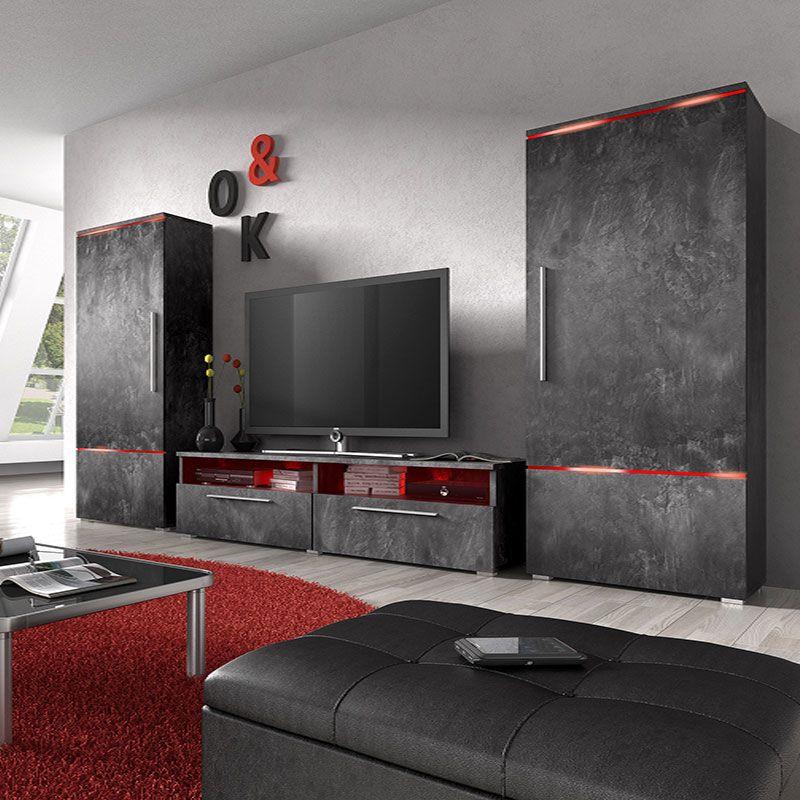 Ensemble Meuble TV Effet Béton Ciré Design MAMBO Ensemble De - Sofamobili meuble tv pour idees de deco de cuisine