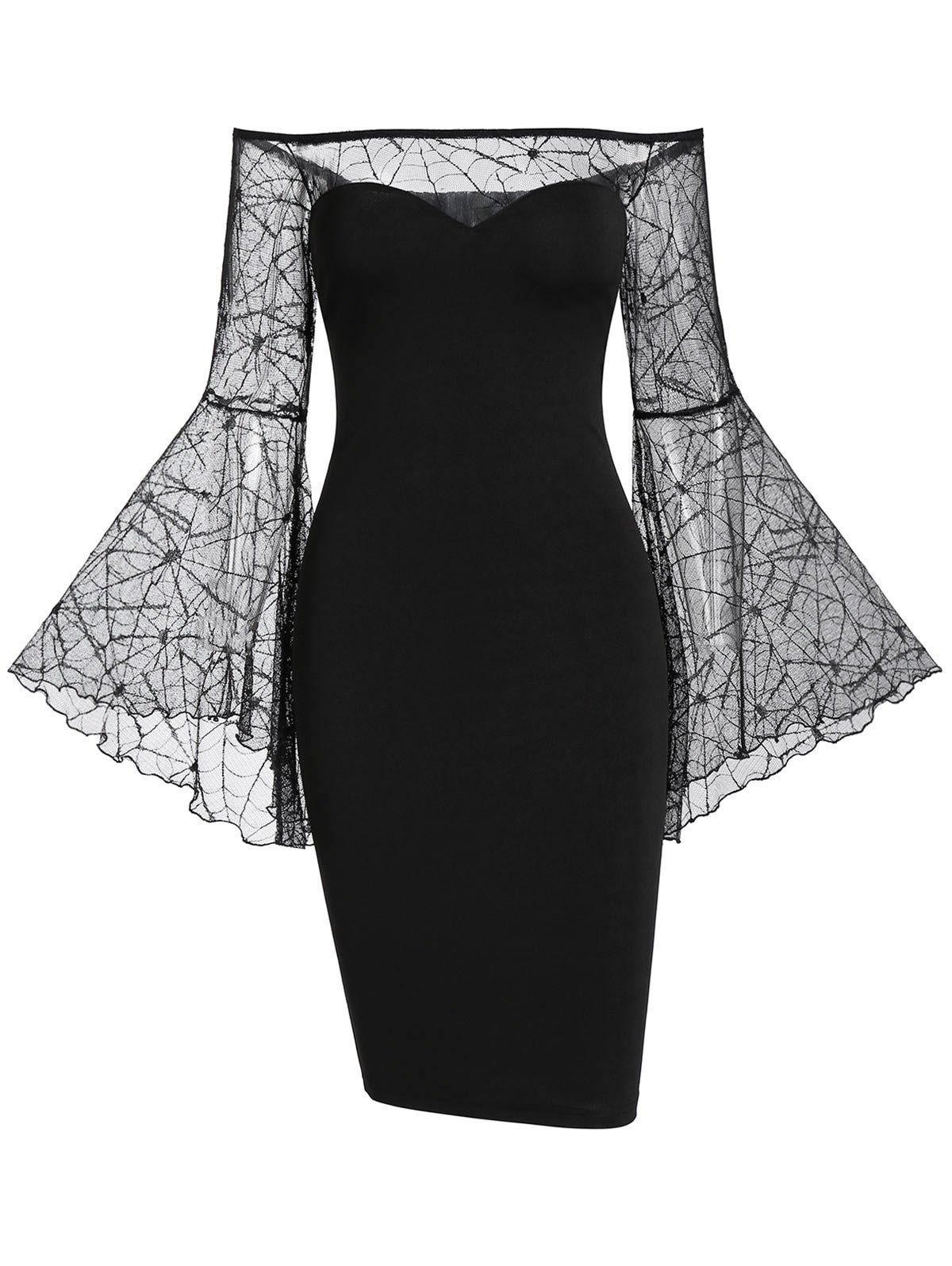Dresslily Com Photo Gallery Off The Shoulder Sheer Bell Sleeve Gothic Halloween Bodycon Dress Classy Dress Bodycon Dress Bodycon Dress Homecoming