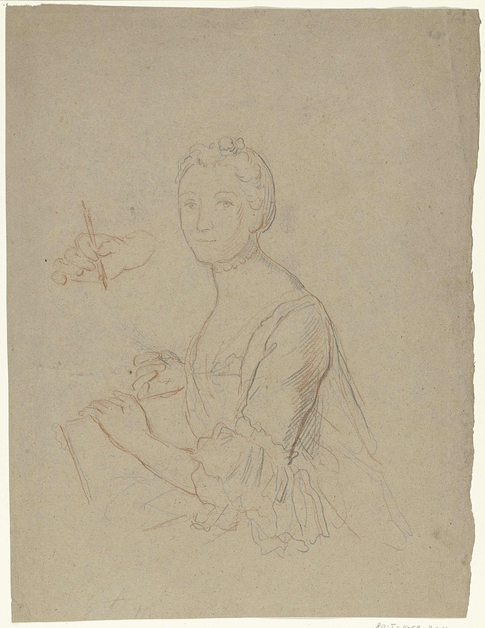 Anonymous | Portret van een dame met papier en stift, Anonymous, 1700 - 1800 | Portret van een dame met papier en stift; haar hand met de stift nogmaals afzonderlijk herhaald.