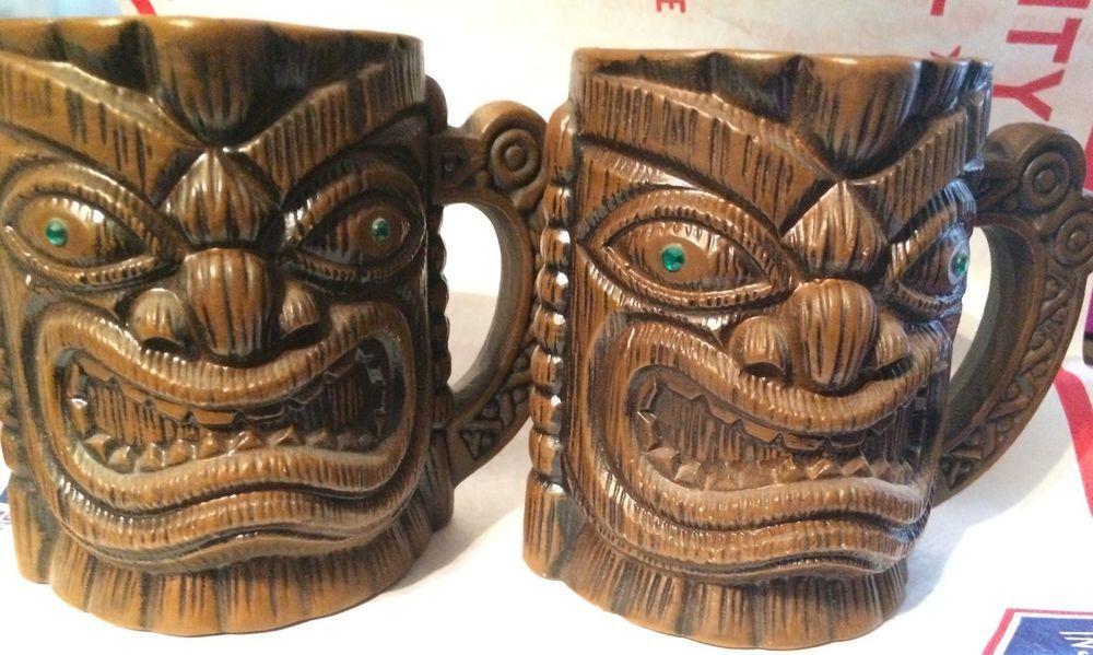Set of 2 Quon Quon Tiki Mug Green Eyes Retro Japan  | eBay