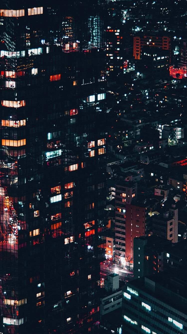 City Night Lights Building Pattern Red Wallpaper Hd Iphone