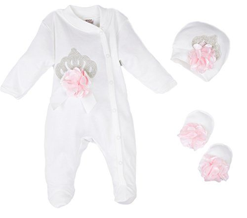 90a870b86eb2 Eda Baby Girl Jeweled Crown Layette 3 Piece Gift Set 03M Pink -- You ...