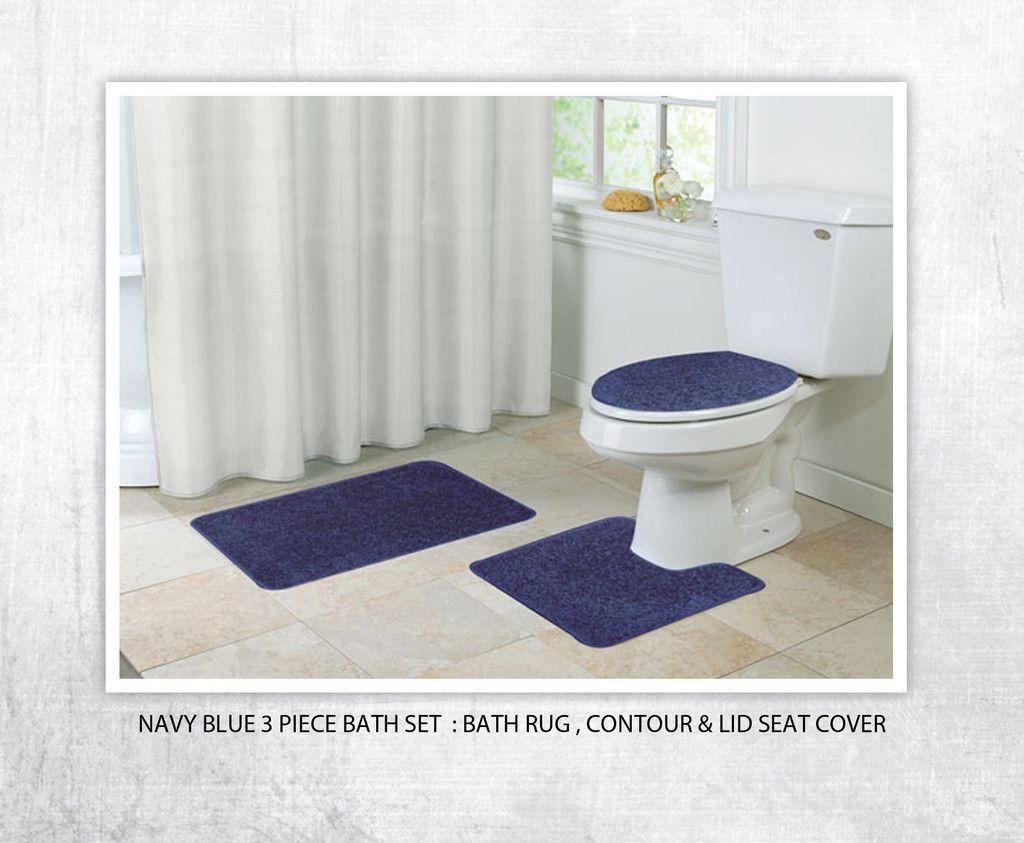 3 Pc Bath Shag Set In Matching Navy Blue Bath Rugs Sets