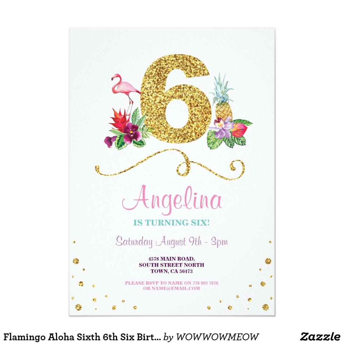 Flamingo Aloha Sixth 6th Six Birthday Party Invite   { Happy ...