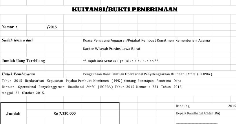 Contoh Kwitansi Excel