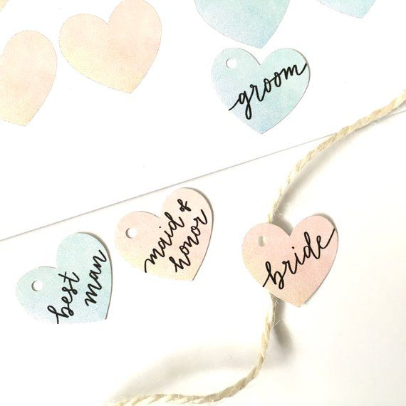 Wedding Party Tags Printable - Digital Download, Instant PDF - heart