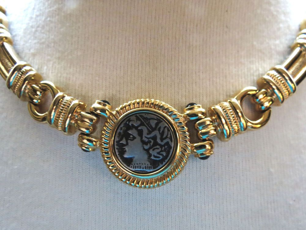 42a301da8 Mary Kay Gold Plate Necklace Pewter Medallion Cameo Pendant Bold Blue  Cabochons #MaryKay #Link